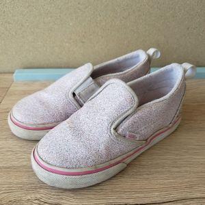 Vans Pink Purple Glitter Classic Slip Ons Size 9.5
